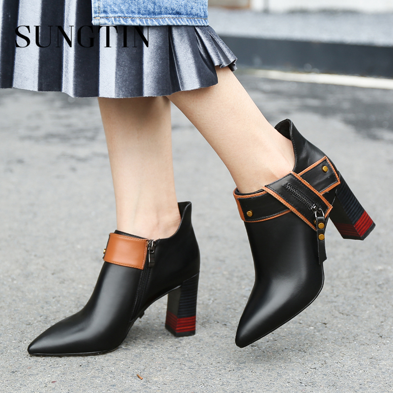 Sungtin Autumn New High Heel Women Ankle Boots Pointed Toe Party Shoes Casual Genuine Leather Short Riding Boots Ladies Booties цена 2017