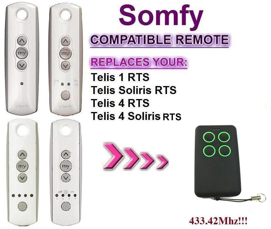 Zugangskontrolle Dhl-freies Verschiffen Somfy Telis 4 Rts Somfy Telis 4 Soliris Rts Kompatibel Garagentor Fernbedienung 433,42 Mhz