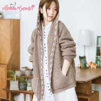 Amourlymei 2018 Autumn New Women Cardigan Mori Girl Long Sleeve Loose Hooded Lovely Knitted Sweater Open Stitch Casual Coats