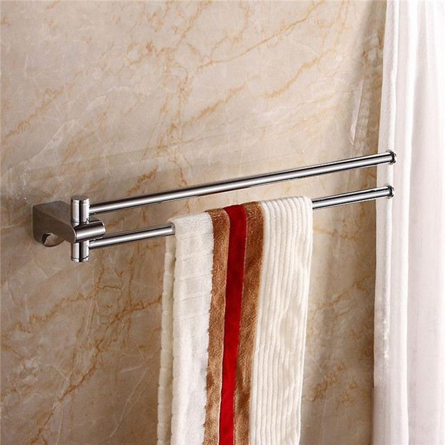 brass swivel double towel bar hanger shower rail storage racks wall mounted bathroom bath towel clothes