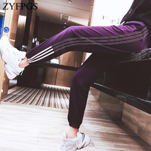 ZYFPGS 2019 Hot Sweatpants Purple Cropped Pants Lines Pants For Women Hip Hop Fashion Casual Loose Plus Size 4XL Young Z1118