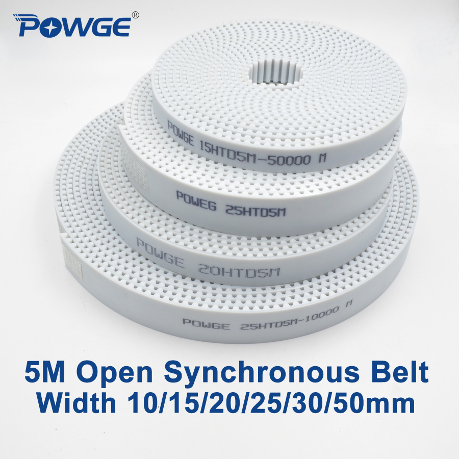 POWGE Arc Tooth PU White HTD 5M Open Timing belt Width 10/15/20/25/30/50mm Polyurethane steel 5M-20mm <font><b>HTD5M</b></font> Synchronous pulley image