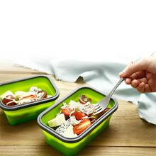 Silicone Collapsible Lunchbox Folding Bento Box Tableware Food Container  Microwave Portable Preservation Lunch