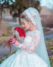 Glamorous Satin Sheer Long Sleeves Lace Appliqued Beading Ball Gown oho Wedding Dress Sofuge Vestido De Noiva Dubai Arabic