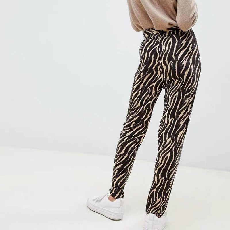 4b1892f92f42 ... JuneLove Women Spring Elastic Loose Long Pants Casual Zebra Animal  Print Female Harem Pants Vintage Sashes