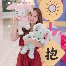 цены New Lovely 45-80cm Soft Hairy Rabbit Plush Toy Cartoon Animal Sleeping Bunny Stuffed Doll Baby Appease Pillow Kid Christmas Gift