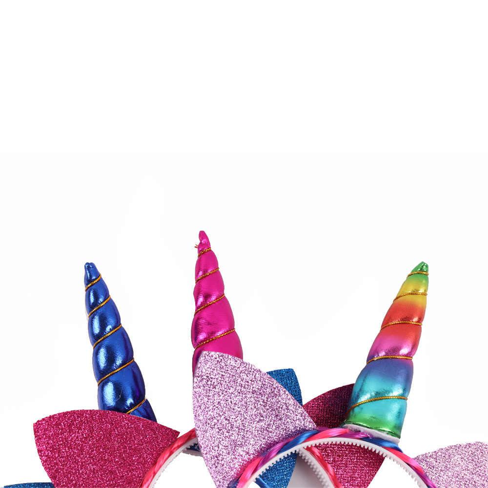 2019 блестящая повязка на голову с радужным цветом Ponytai для девочек принцесса оплетка парик зубы Hairban Рог вечерние аксессуары для волос