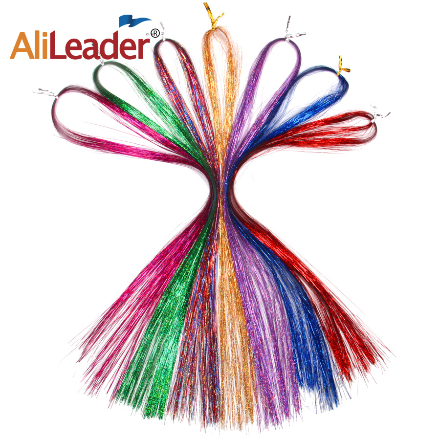 """36"""" 100 Strands Colorful Long Decoration Bling Rainbow Silk Hair Extensions Dazzles Sparkle Shiny Tinsel Blue Pink Purple Green 4"""