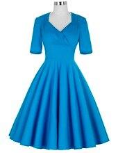 Blue Half Sleeve Women Dress Retro robe Vintage 50s 60s Swing Summer office Party Dresses Elegant Tunic Female dress Vestidos