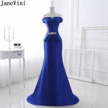JaneVini Elegant Royal Blue Mermaid Mother of The Bride Dresses Boat Neck Crystal Backless Satin Sweep Train Evening Party Gowns