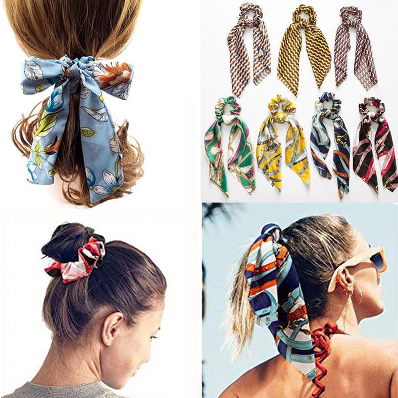 Long Tassel Knotted Women Hair Band Flower Printing Ponytail Hair Rope Streamer Headdress Cloth Girls Large Bow Hair Accessories