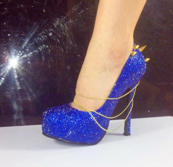 743318335 Handmade sexy mulheres evening spikes plataformas de salto alto azul royal  strass salto alto sapatos de noiva festa em Bombas das mulheres de Sapatos  no ...