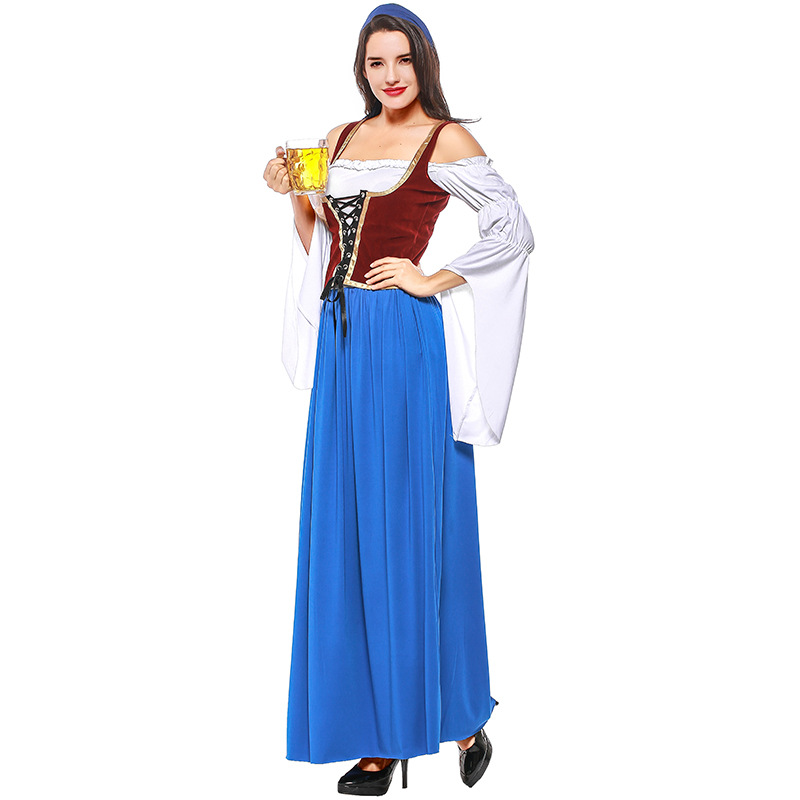 Costumes Adult Women Beer Festival Elegant Brown Top and Blue Dresses Suit Munich National Style Costumes for Oktoberfest Event