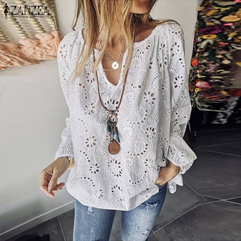 Fashion Hollow Summer Tunic Women's Casual Blouse 2019 ZANZEA Autumn Long Sleeve Shirts Female V Neck Lace Blusa White Top S-5XL