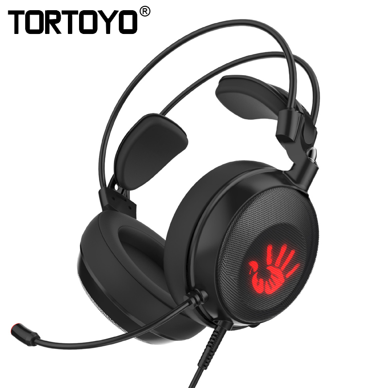 TORTOYO Professional Headband Wired Gaming Headset Internet Bar Surround 7.1 Gamer Stereo PC Headphone with LED Light Microphone