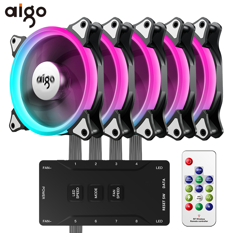 Aigo Aurora C3C5 Pro Computer Case PC Fan Cooling RGB 120mm Adjust Speed Quiet Remote Aura
