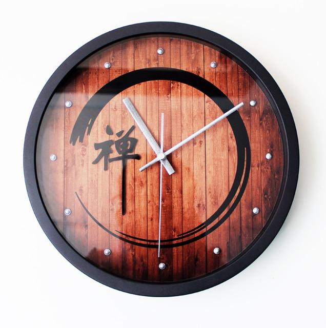Traditional Chinese Zen Life Style Retro Fashion Creative Wall Clock Tea Word Yoga Sit