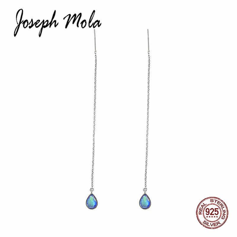 961796aef ... Joseph Mola New Arrival 925 Sterling Silver Blue Water Drop CZ Stone  Tassel Long Drop Earrings ...