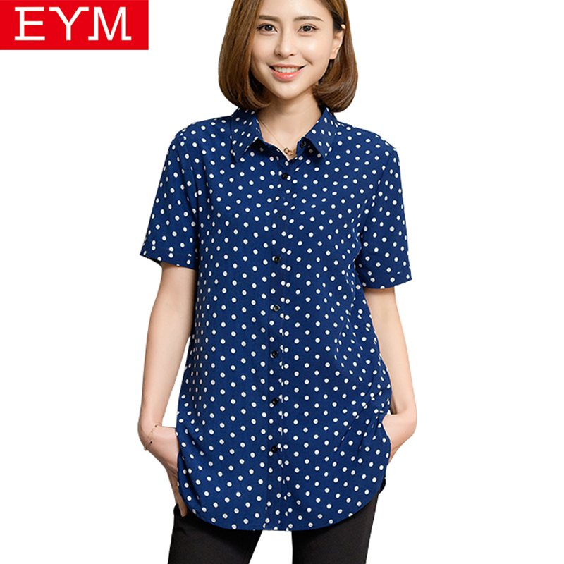 Short Sleeve   Blouse     Shirt   Women 2018 Summer New Fashion Za Dot Print   Shirts   Women Plus Size   Blouses   Female Tops Clothing Blusas