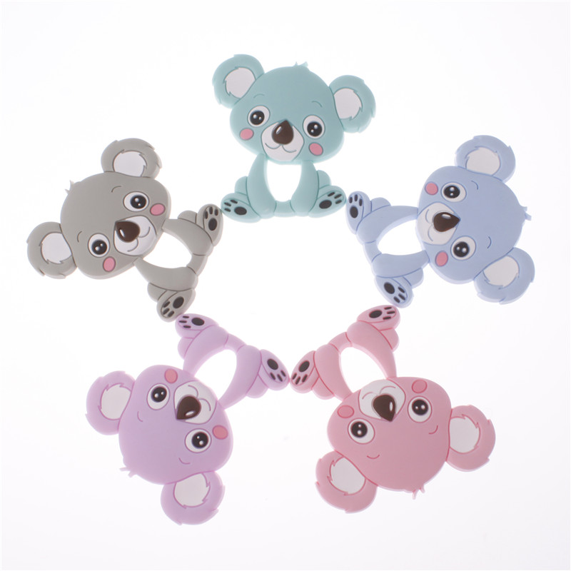 20pc Silicone Teether Pendant Koala Bear Teething Necklace Bpa Free Silicone Baby Pacifier Pendant Diy Nursing Jewelry