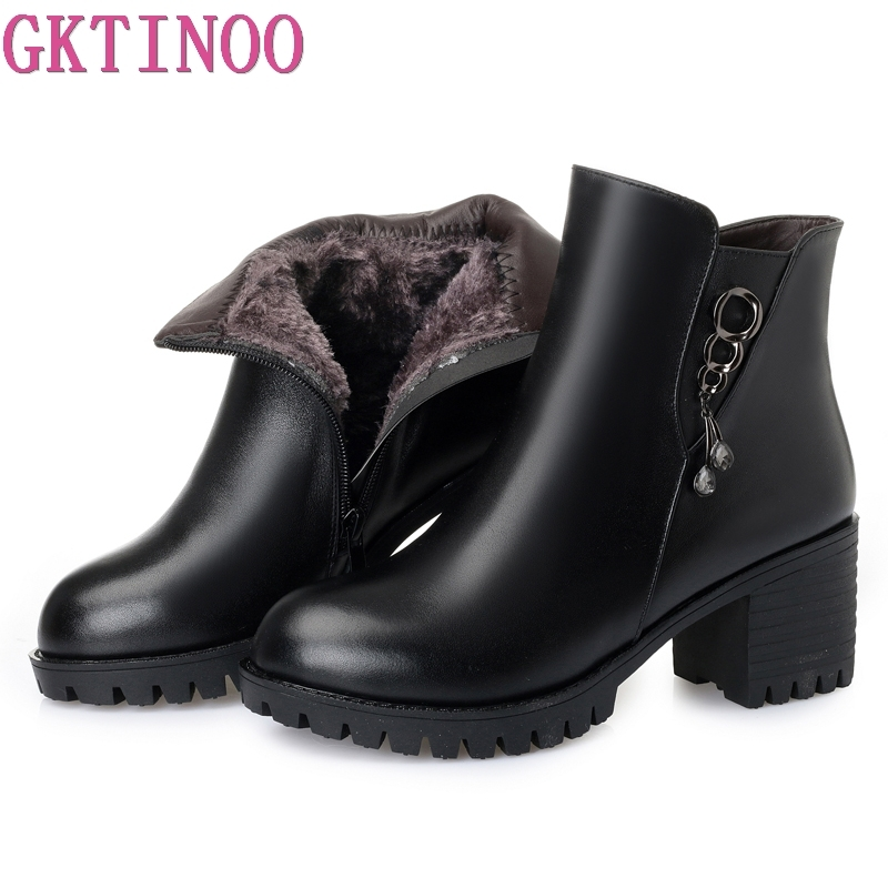 GKTINOO 2018 New Winter Warm Comfortable Plush Snow Boots Women Ankle Boots Thick High Heels Leather Shoes Woman Fashion BootsGKTINOO 2018 New Winter Warm Comfortable Plush Snow Boots Women Ankle Boots Thick High Heels Leather Shoes Woman Fashion Boots