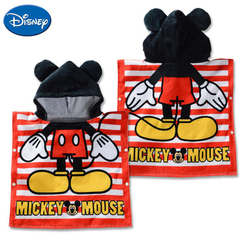 Disney Cartoon Minnie Mickey Cotton Towel Cloak Child Boy Girl Hooded Can Wear Beach Towel Blanket Outdoor Towel Handkerchief