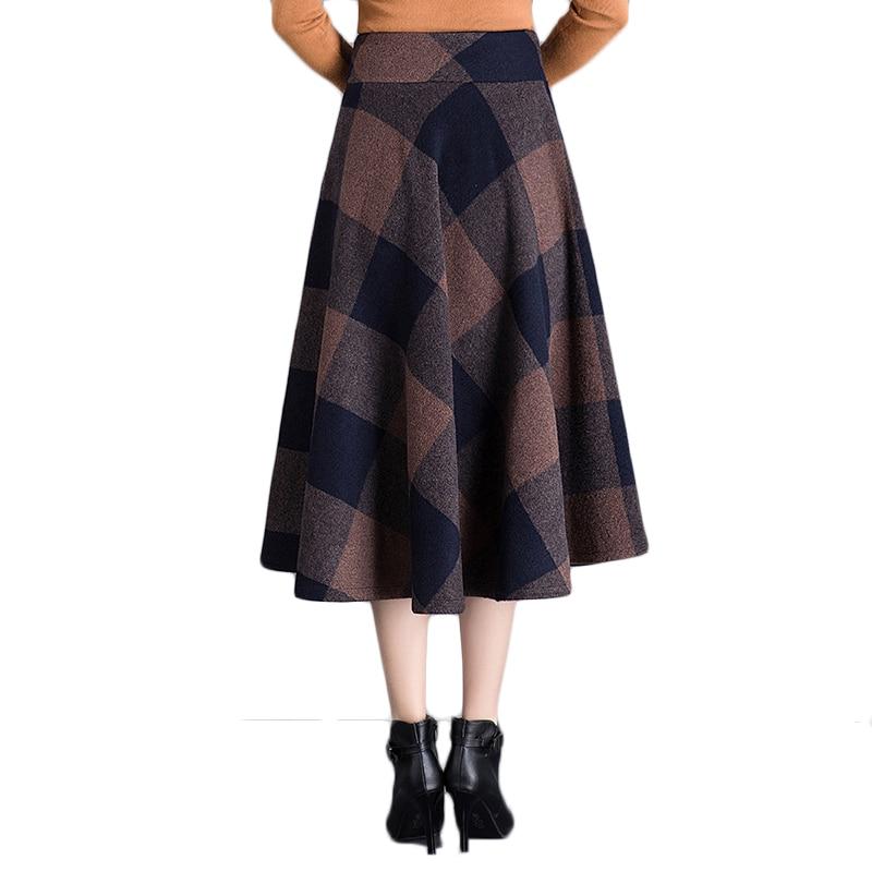 Cintura De Cuadros 2019 4xl Lana Coffee Elegantes Mujer Plus Bolsillos Invierno Faldas Alta Mujeres Larga Café Otoño Falda Plisada Tamaño M Pantalones RYfcvF
