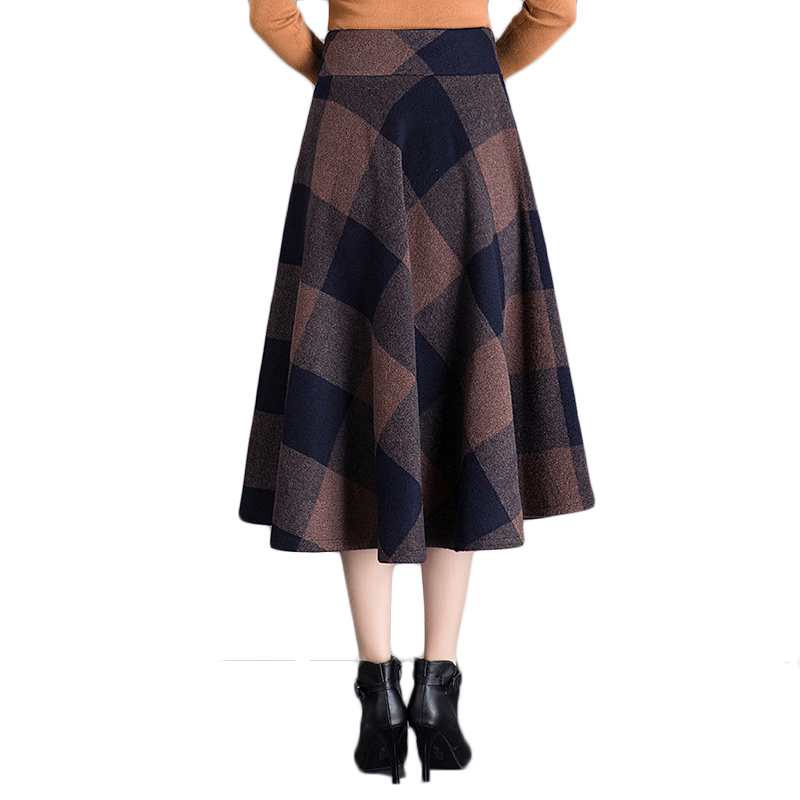 M Lana Pantalones Invierno Larga Falda Tamaño 4xl Plus 2019 Mujer De Cintura Mujeres Bolsillos Otoño Cuadros Plisada Coffee Café Alta Faldas Elegantes 0Bn5qAAW