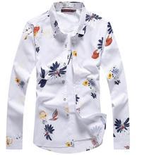 26 Цвета!! Высокое качество Новый Мода 2017 г. Повседневное Для мужчин рубашка с длинными рукавами Бизнес печать Мужской Для мужчин S одежда синий и красный цвета платье