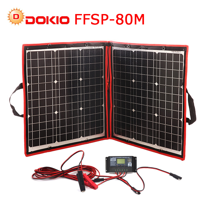 Dokio 18V 80W Flexible Foldble Mono Solar Panel Outdoor Portable Solar Panel For Travel Boat RV