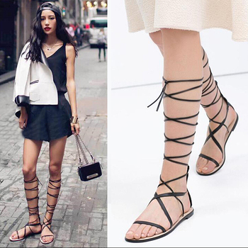 women sandals 2017summer gladiator Sandals women Lace Up Fashion Designer Shoes Woman Knee High boot flats Sandals Free shipping strappy tie up flat sandals