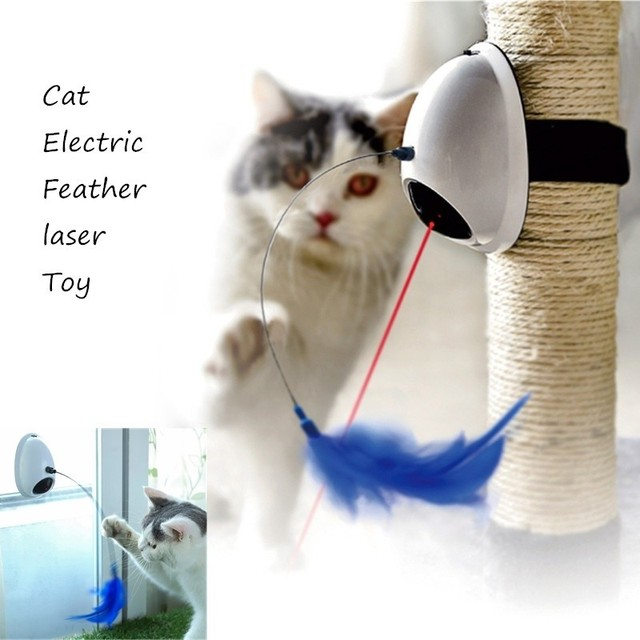 Laser Cat Toy Electric 2 In 1 Automatic Rotating Pet Toy Interactive Cat Tree Toy Cat Electric Feather Toy  Can Be Used on Wall