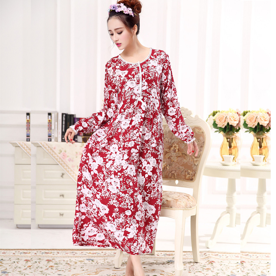 Spring Cotton Nightgown Female Sleeping Dresses Long Summer Long Sleeved Plus Size 959