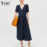 Korean Button White Linen Dress Women V Neck Short Sleeve Casual Midi Dress Summer Pocket Loose
