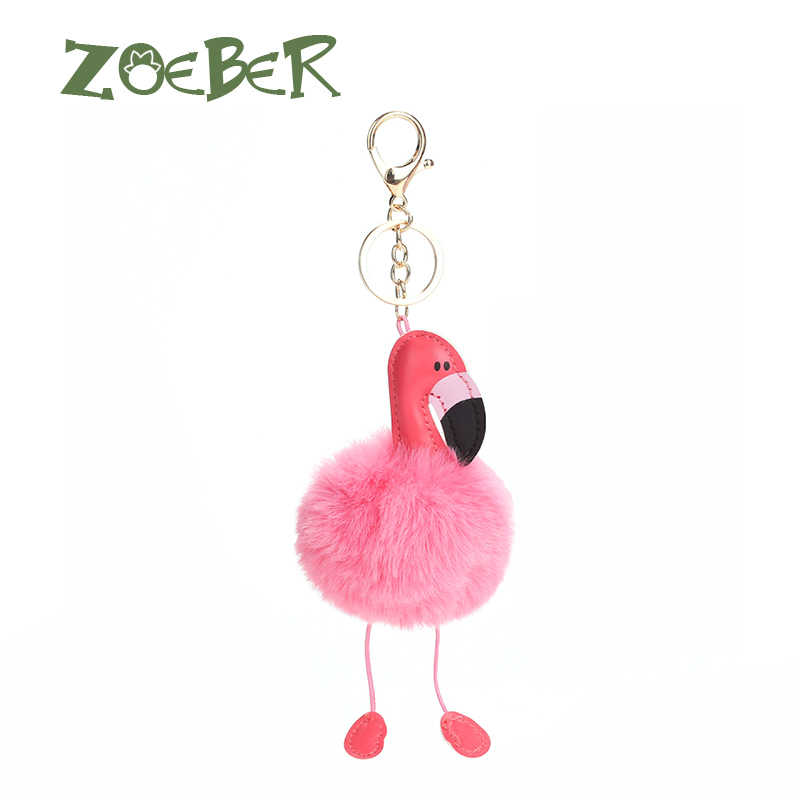 ZOEBER  fluffy fake rabbit fur ball Cute pompom keychain flamingo key chainwomen car bag pompon key ring pom pom holder jewelry