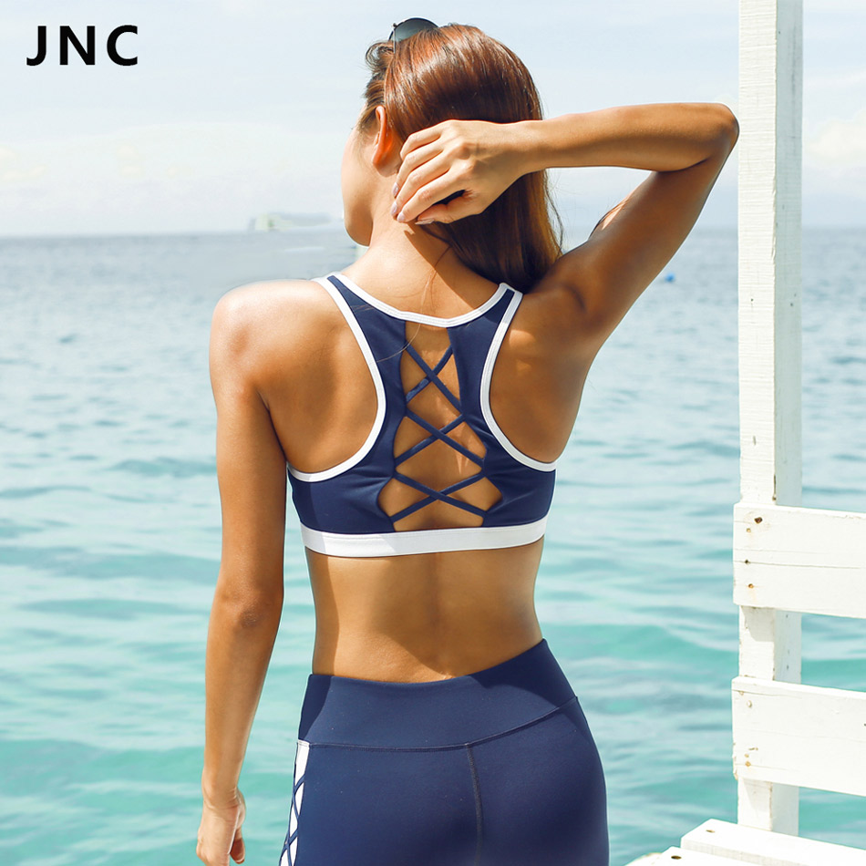 Drop Shipping 2017 New Arrivals White Bule Contrast Color Sports Bra Back Strappy Sport Crop Top