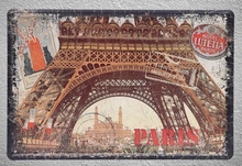 1 pc Paris Eiffel tower France postcard Lutetia Tin Plate Sign wall plaques Man cave vintage Dropshipping metal Poster