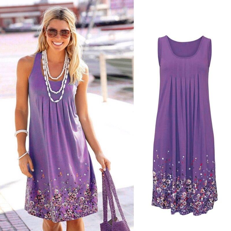 Ärmelloses Blumen Druck Lose Strand Sommer Kleid Mode Sechs Farben Casual Frauen Kleid 2019 Sexy Kleid Plus Größe S-5XL