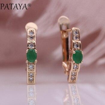 PATAYA Novo Verde Oval Brincos de Casamento Das Mulheres Da Moda Bonito Multicolor Natural Zircon Dangle Brincos Fine Jewelry 585 em Ouro Rosa