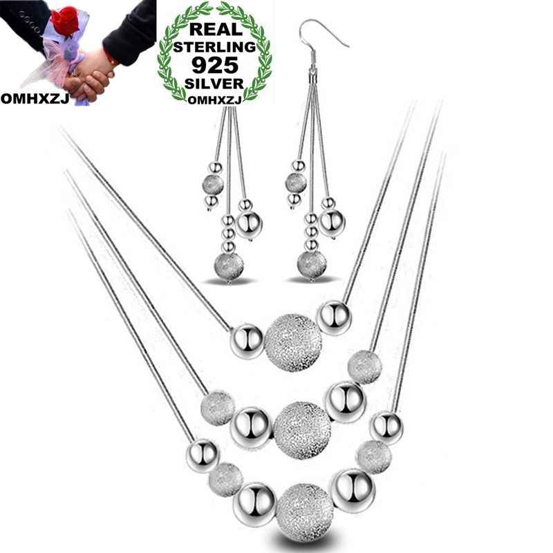 OMHXZJ Wholesale Personality Fashion OL Woman Girl Party White Beads 925 Sterling Silver Stud Earrings+Necklace Jewelry Set SE02