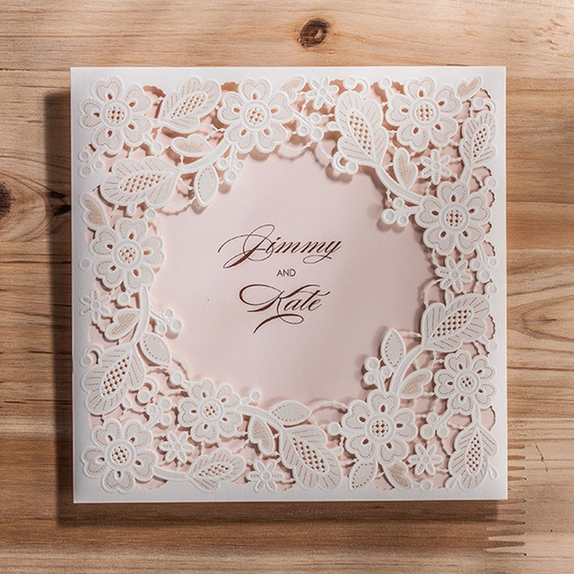 White Square Hollow Flora Vintage Laser Cut Wedding Invitation