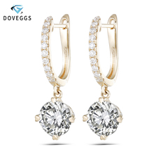DovEggs Solid 14K 585 Yellow Gold 2CTW 6.5mm F Color Moissanite Drop Earrings for Women Wedding Anniversary Dangle Earrings
