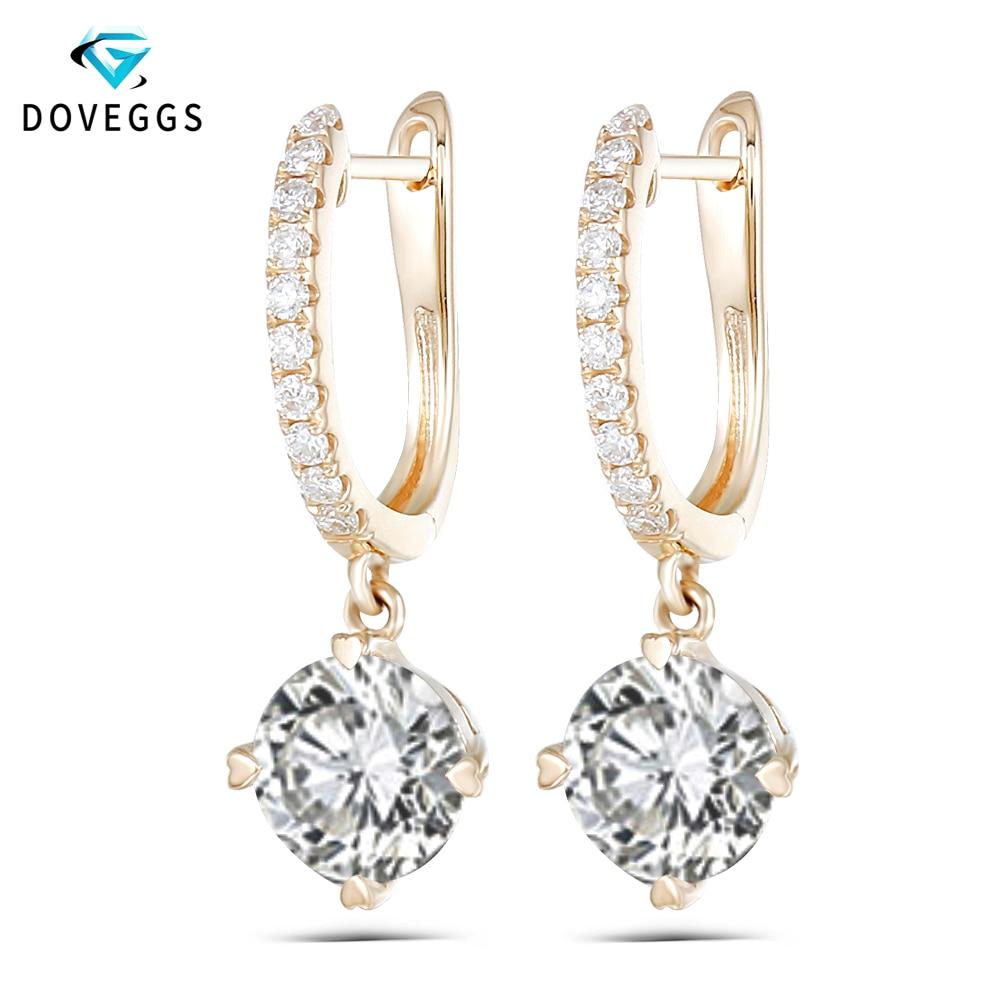 DovEggs Solid 14K 585 Yellow Gold 2CTW 6.5mm F Color Moissanite Drop Earrings for Women Wedding Anniversary Dangle Earrings