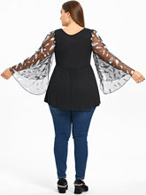 ZAFUL Plus Size Feather Print Flare Sleeve Lace Up Blouse