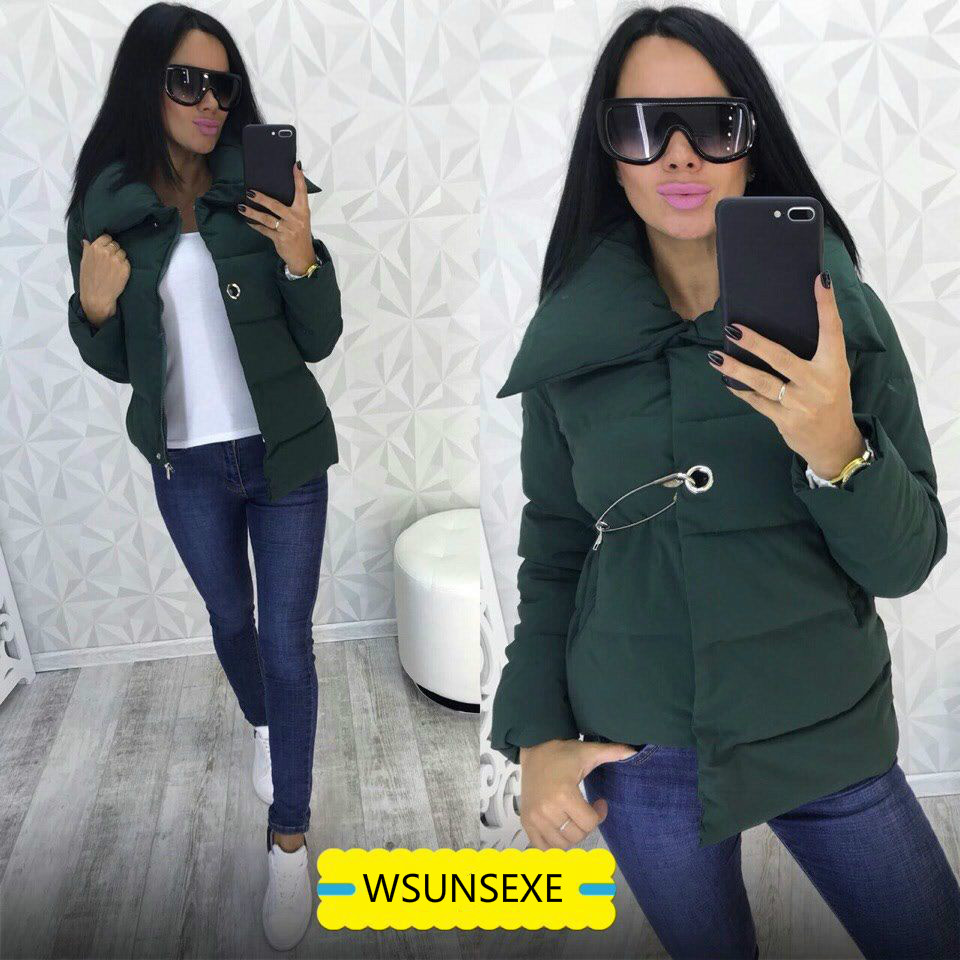 Jacket Zipper Parkas pink white Female Collar Casual army Solid Winter Cotton Padded Jackets Irregular Outerwear Autumn Black Women 2018 Coat Green Color qxYAtzF4