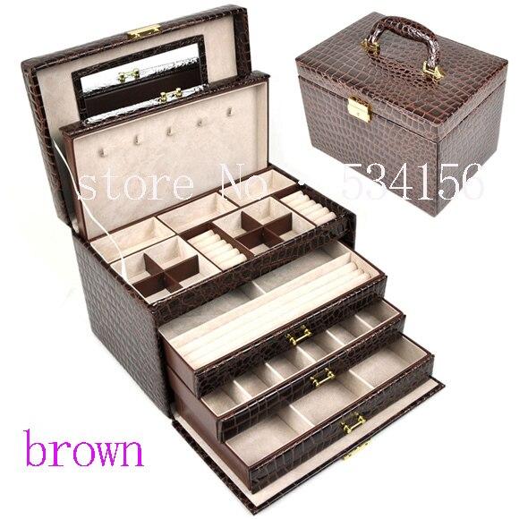 Lussuosi grandi 4 strati in pelle marrone orecchini contenitore di monili scatola di presentazione dei monili regali di nozze scatola regalo (28. * 20*19.5 cm)