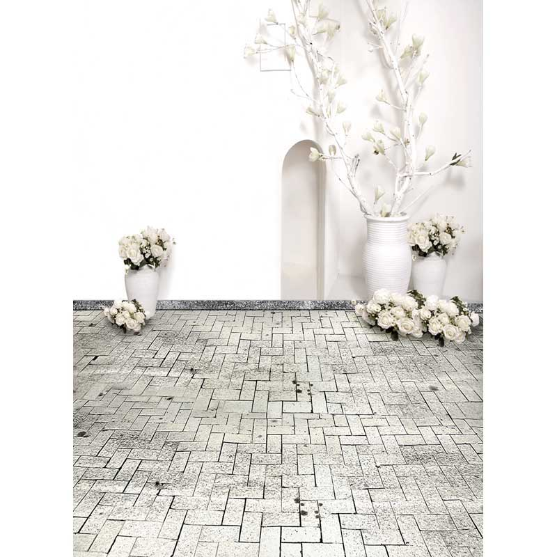 Wedding Vinyl Cloth Print White Floral Room Brick Floor