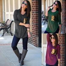 T-shirt mujeres ropa bolsillo lentejuelas Bling manga larga Camiseta Tops Mujer  ropa algodón Casual 6b884c27450