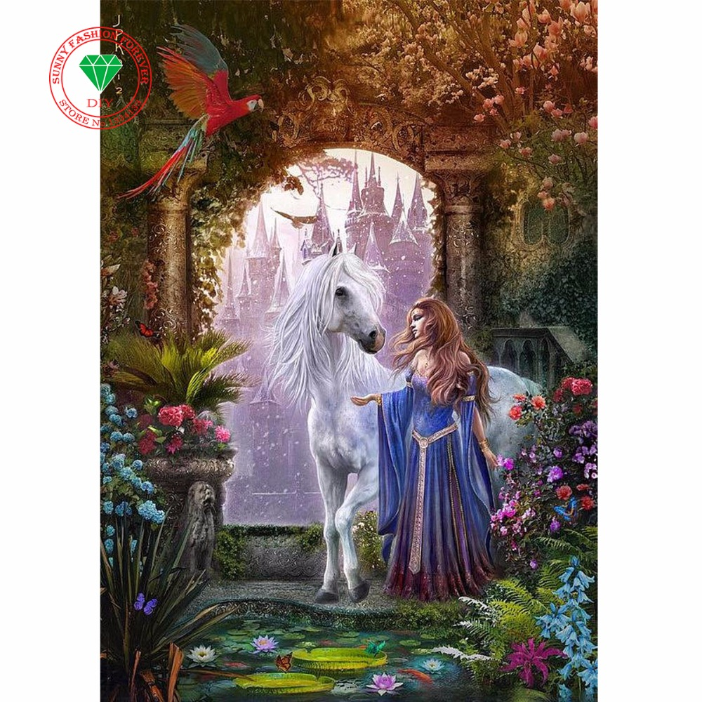 DIY Rhinestones diamond painting cross stitch plastic crafts unfinished full Square diamond embroidery Landscape Beauty Horse