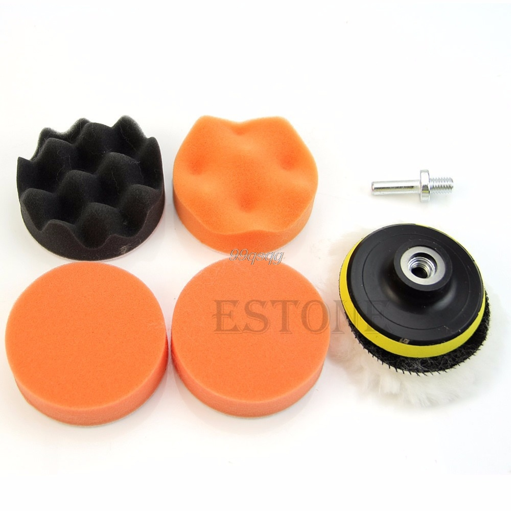 7Pcs 3 inch Buffing Pad Auto Car Polishing Wheel Kit Buffer + M10 Drill Adapter Wheel Kit Buffer With Drill Adapter Drop ship